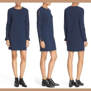 NWT $395 tibi Button Sleeve Crepe Shift Dress 00
